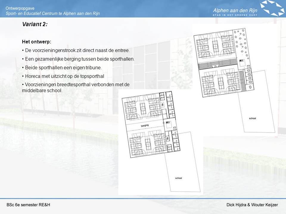 Variant 2: Het ontwerp: De voorzieningenstrook zit direct naast de entree. Een gezamenlijke berging tussen beide sporthallen.