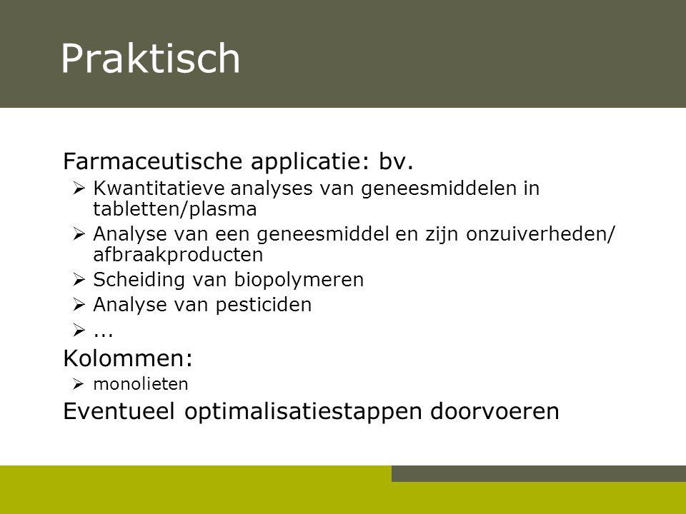 Praktisch Farmaceutische applicatie: bv. Kolommen: