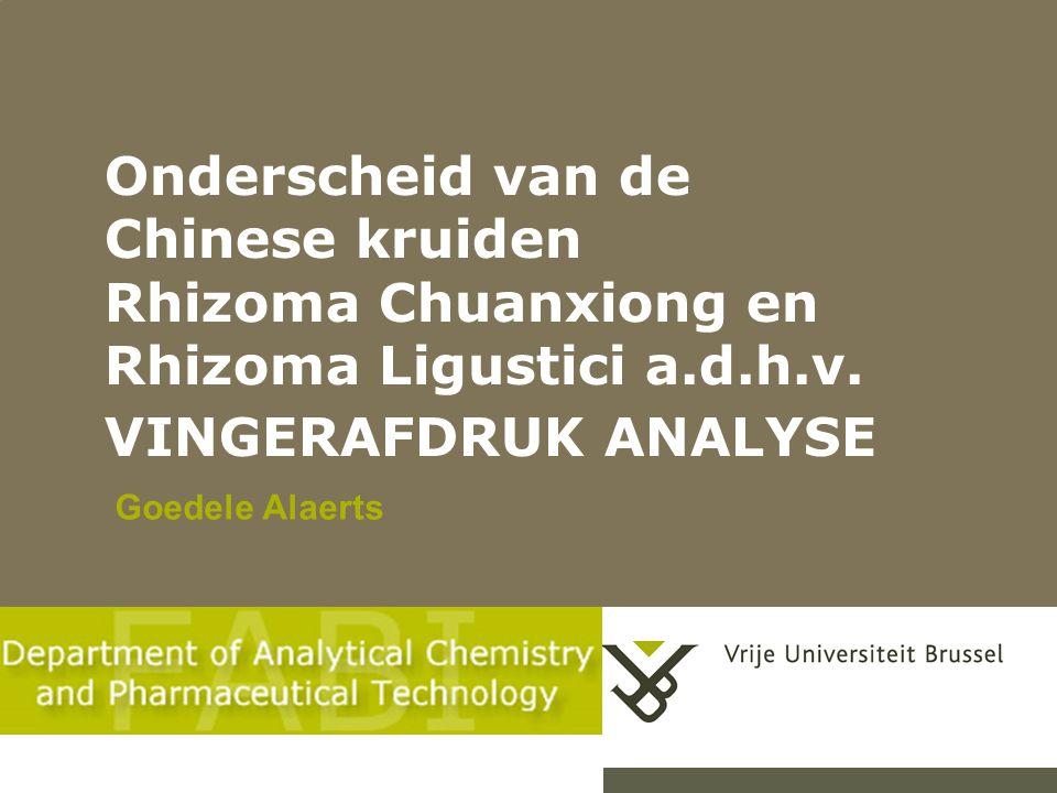 Onderscheid van de Chinese kruiden Rhizoma Chuanxiong en Rhizoma Ligustici a.d.h.v. VINGERAFDRUK ANALYSE