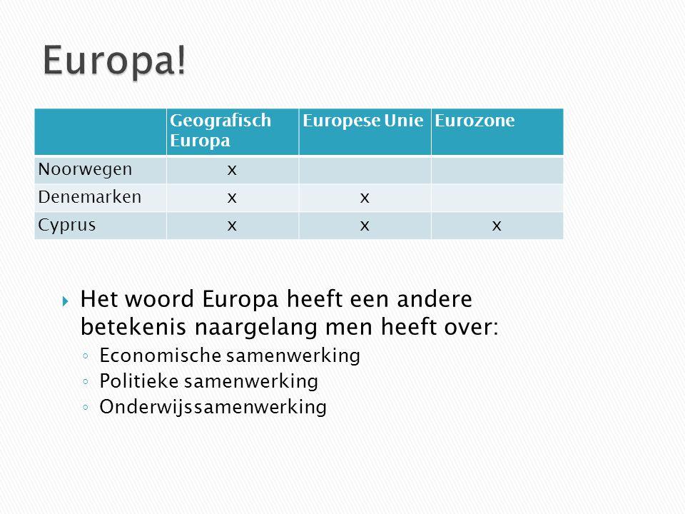 Europa! Geografisch Europa. Europese Unie. Eurozone. Noorwegen. x. Denemarken. Cyprus.