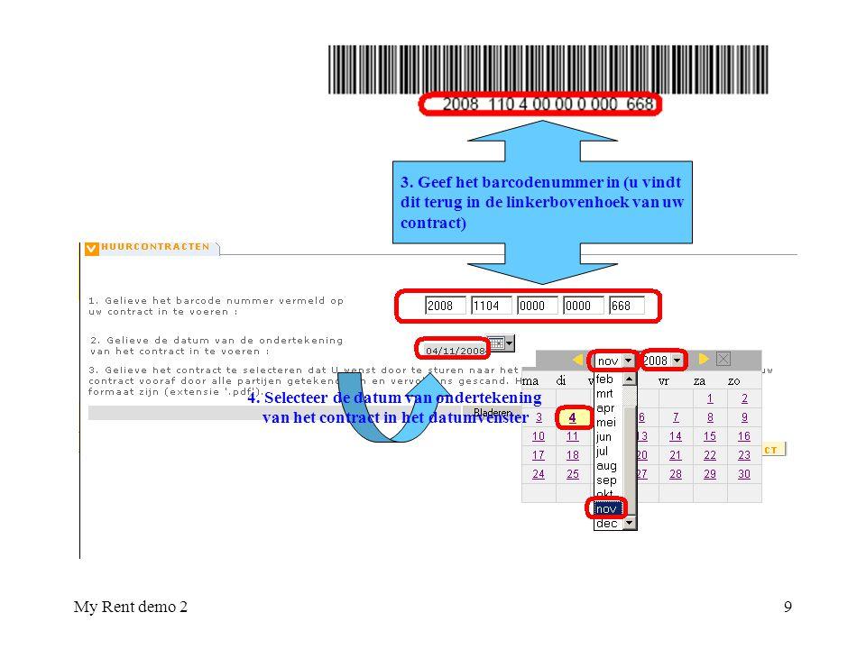 3. Geef het barcodenummer in (u vindt