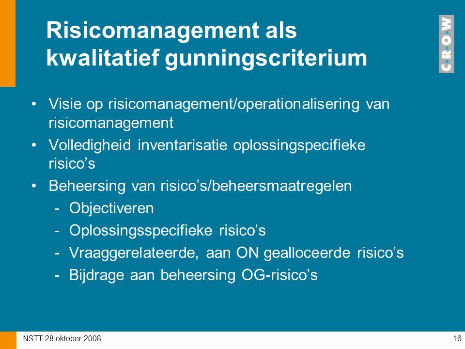 Risicomanagement als kwalitatief gunningscriterium