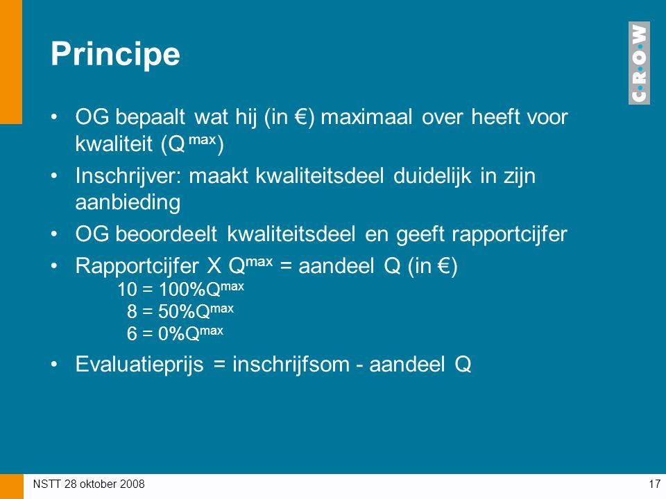 Principe OG bepaalt wat hij (in €) maximaal over heeft voor kwaliteit (Q max) Inschrijver: maakt kwaliteitsdeel duidelijk in zijn aanbieding.