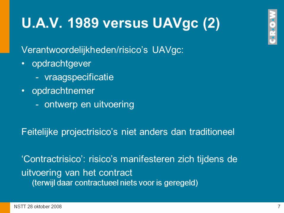 U.A.V. 1989 versus UAVgc (2) Verantwoordelijkheden/risico's UAVgc: