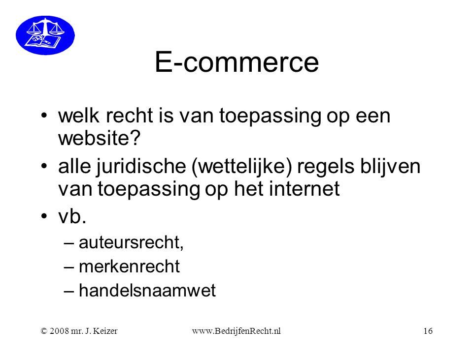 E-commerce welk recht is van toepassing op een website