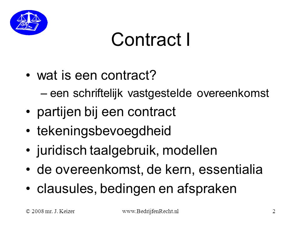 Contract I wat is een contract partijen bij een contract