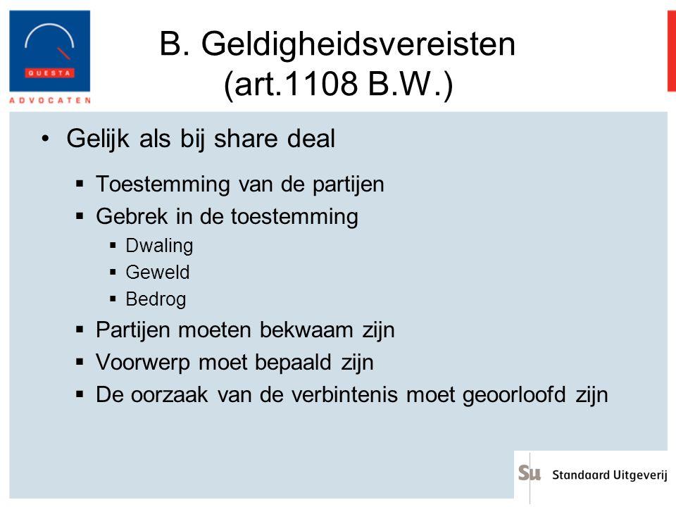 B. Geldigheidsvereisten (art.1108 B.W.)