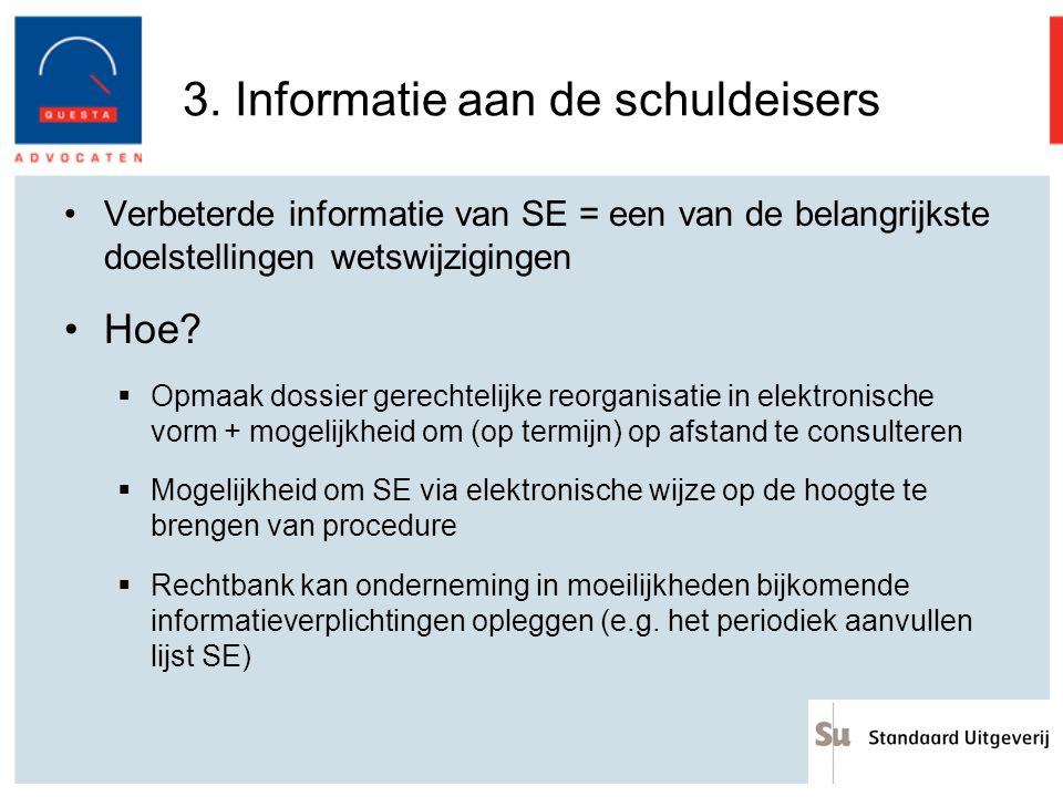 3. Informatie aan de schuldeisers