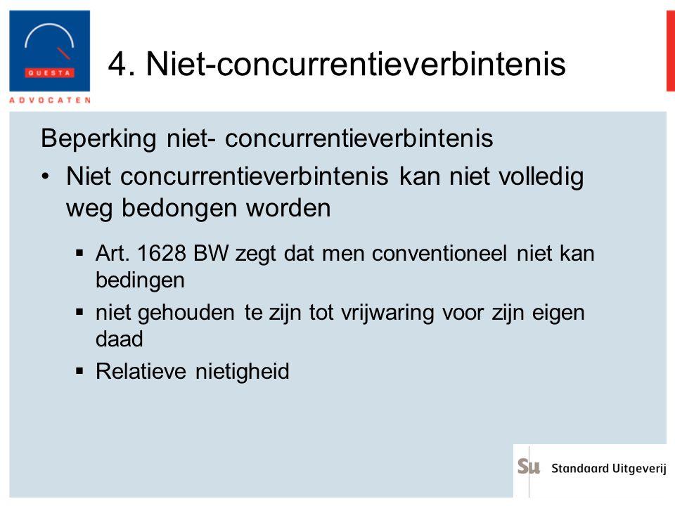 4. Niet-concurrentieverbintenis