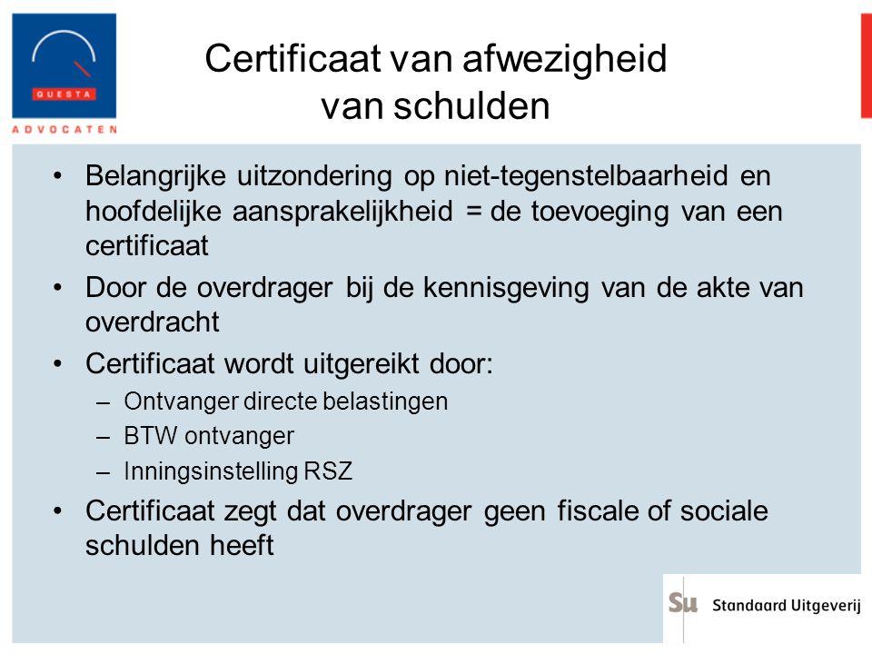 Certificaat van afwezigheid van schulden