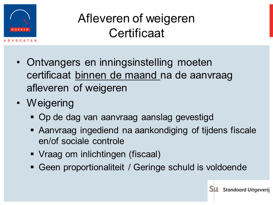 Afleveren of weigeren Certificaat