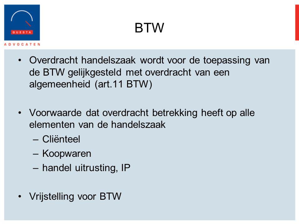BTW Overdracht handelszaak wordt voor de toepassing van de BTW gelijkgesteld met overdracht van een algemeenheid (art.11 BTW)