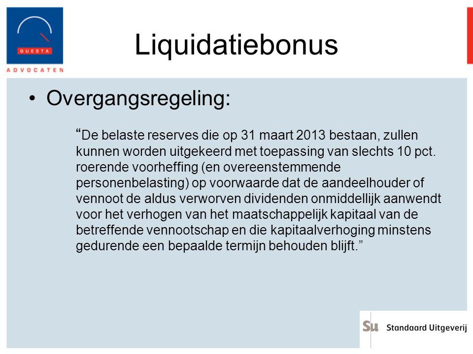 Liquidatiebonus Overgangsregeling: