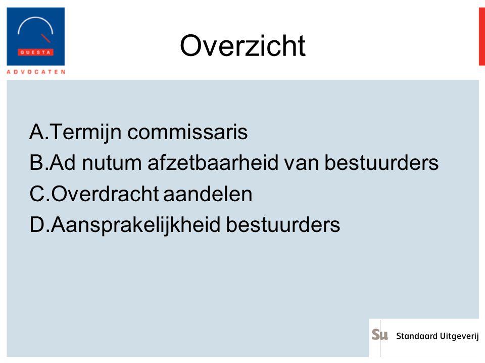 Overzicht Termijn commissaris Ad nutum afzetbaarheid van bestuurders
