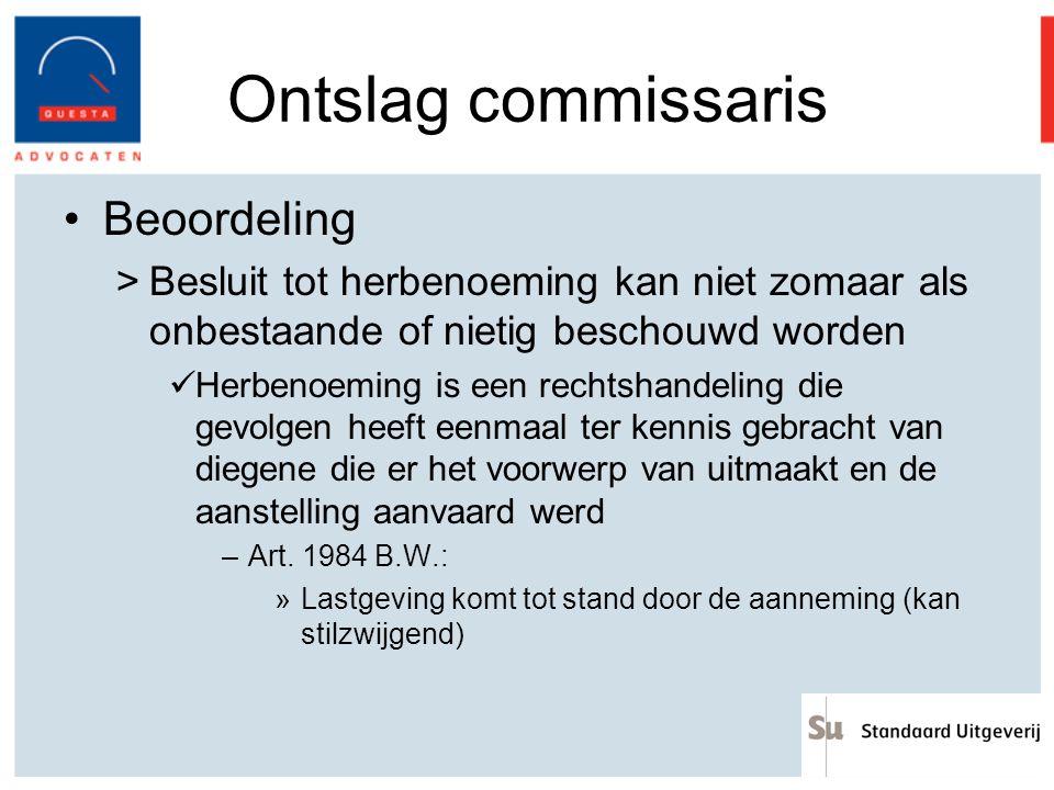 Ontslag commissaris Beoordeling