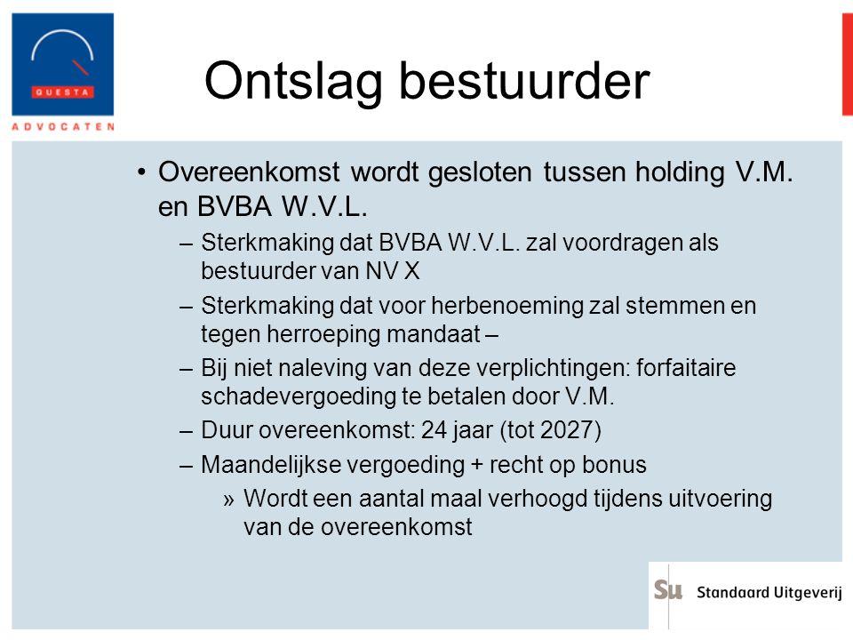 Ontslag bestuurder Overeenkomst wordt gesloten tussen holding V.M. en BVBA W.V.L. Sterkmaking dat BVBA W.V.L. zal voordragen als bestuurder van NV X.