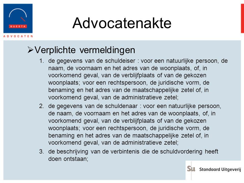Advocatenakte Verplichte vermeldingen