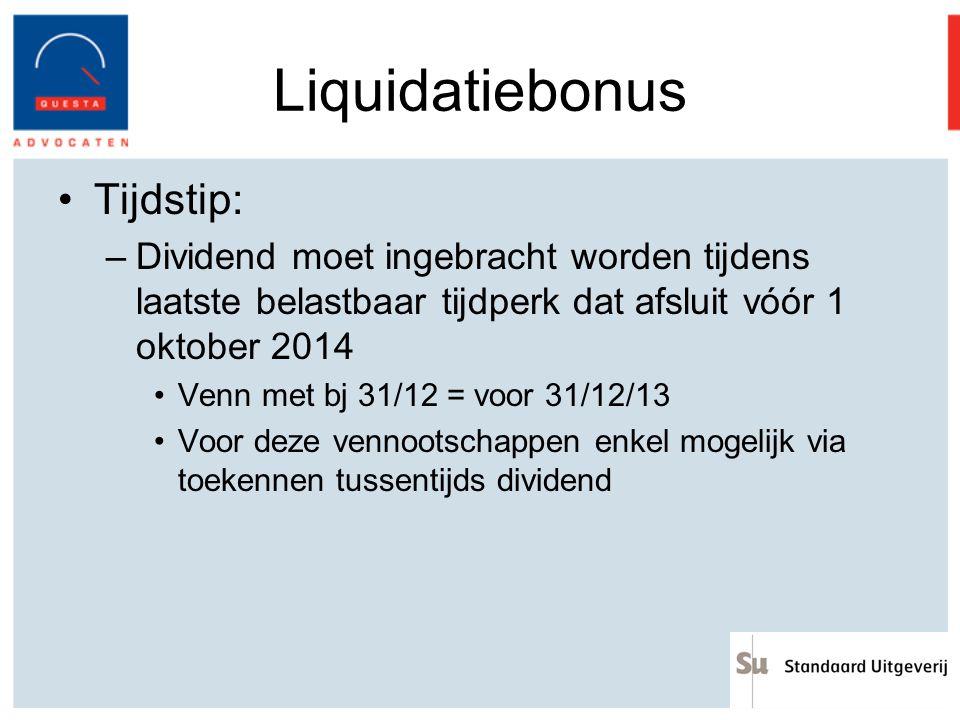 Liquidatiebonus Tijdstip: