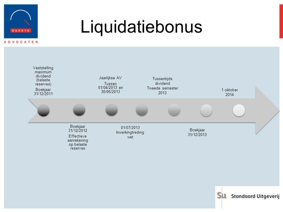 Liquidatiebonus Vaststelling maximum dividend (belaste reserves)