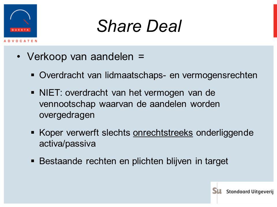 Share Deal Verkoop van aandelen =