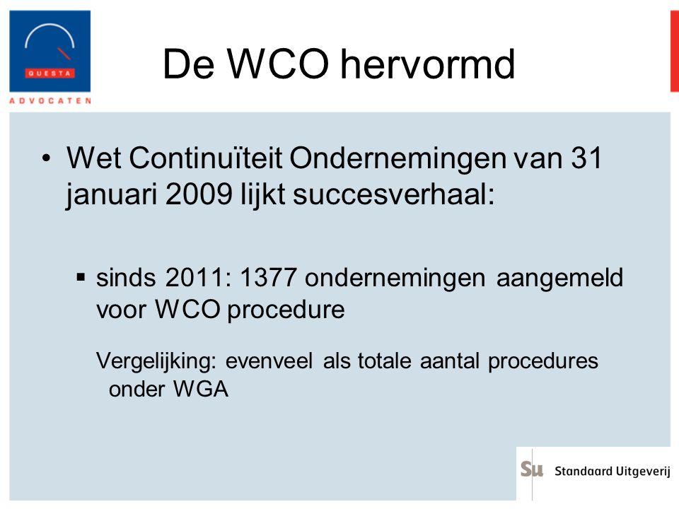 De WCO hervormd Wet Continuïteit Ondernemingen van 31 januari 2009 lijkt succesverhaal: sinds 2011: 1377 ondernemingen aangemeld voor WCO procedure.