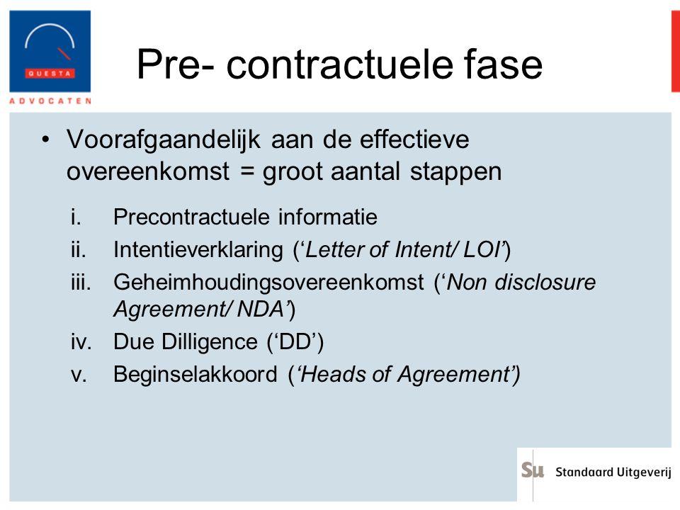 Pre- contractuele fase
