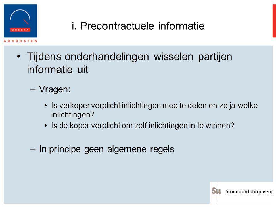 i. Precontractuele informatie