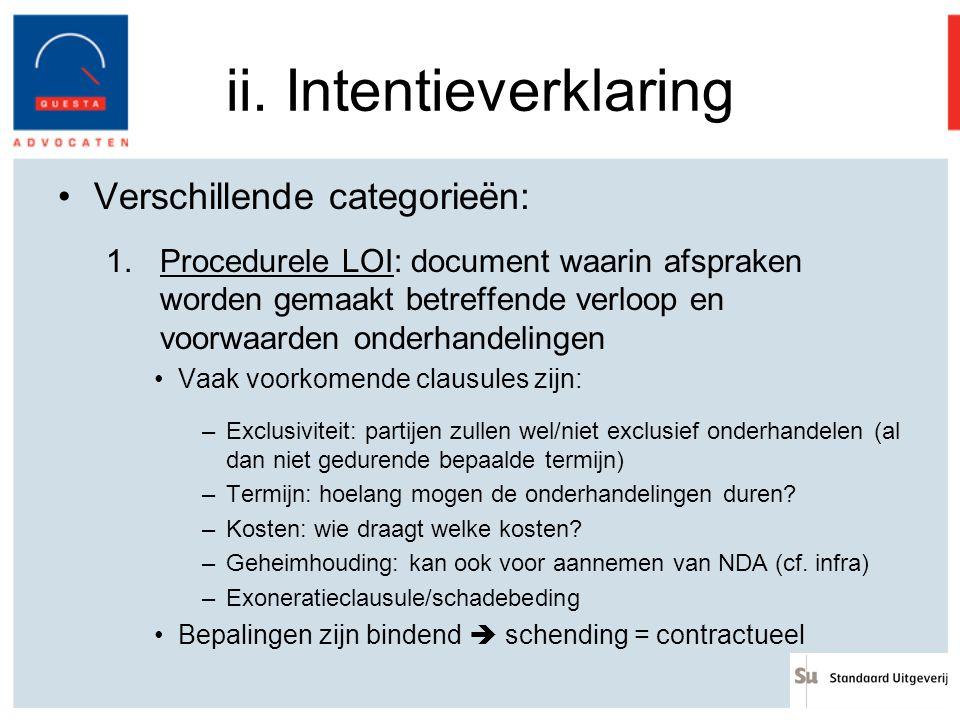ii. Intentieverklaring