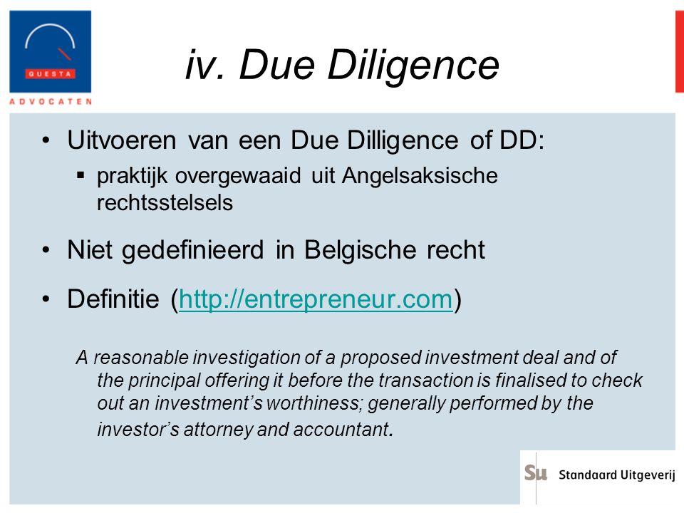 iv. Due Diligence Uitvoeren van een Due Dilligence of DD: