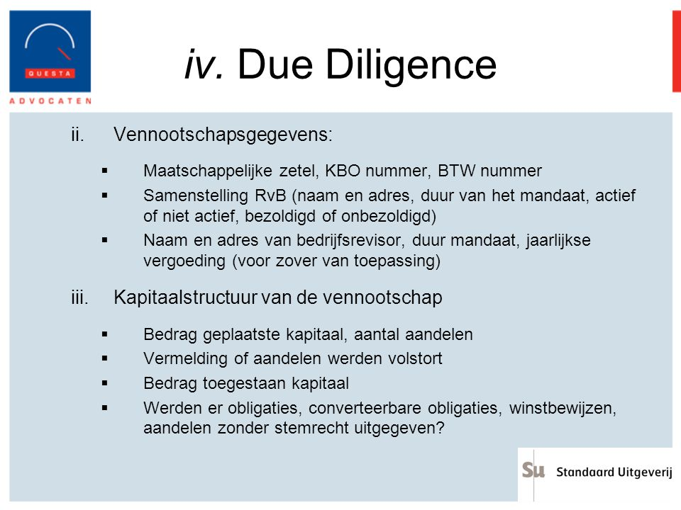iv. Due Diligence Vennootschapsgegevens: