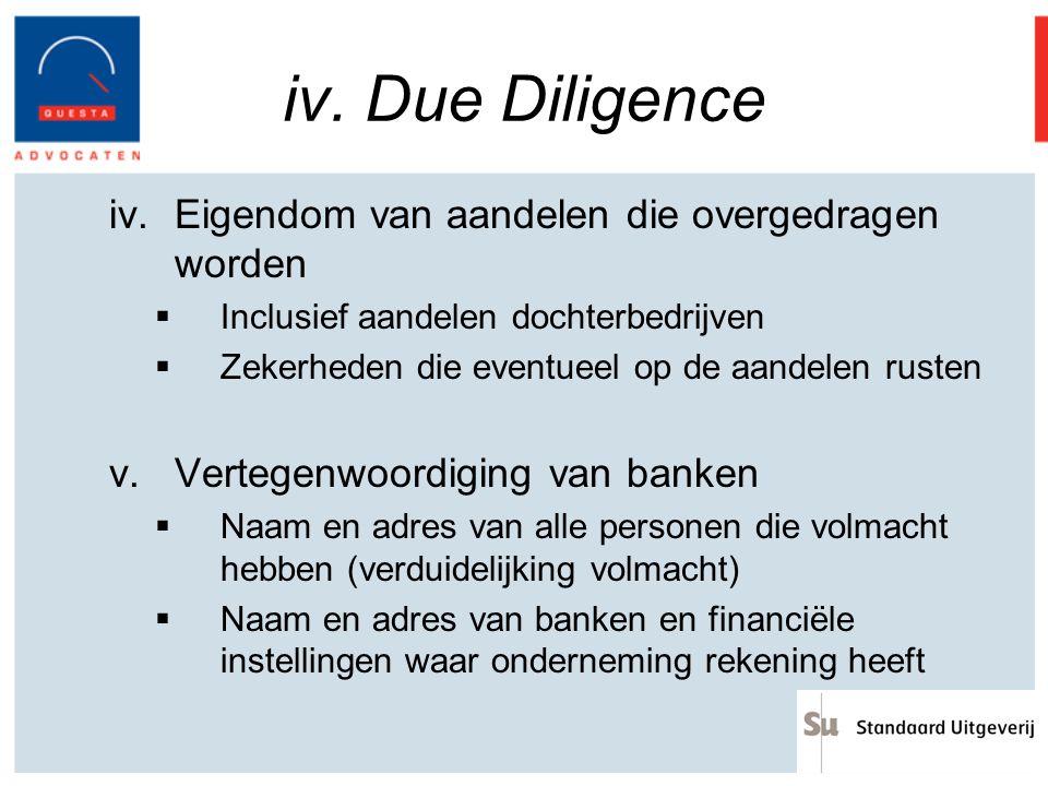 iv. Due Diligence Eigendom van aandelen die overgedragen worden