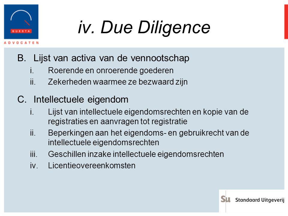 iv. Due Diligence Lijst van activa van de vennootschap