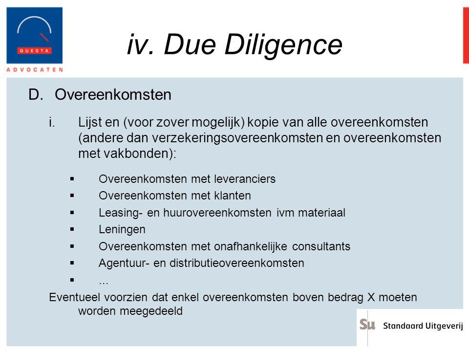 iv. Due Diligence Overeenkomsten