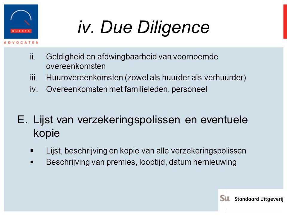 iv. Due Diligence Lijst van verzekeringspolissen en eventuele kopie