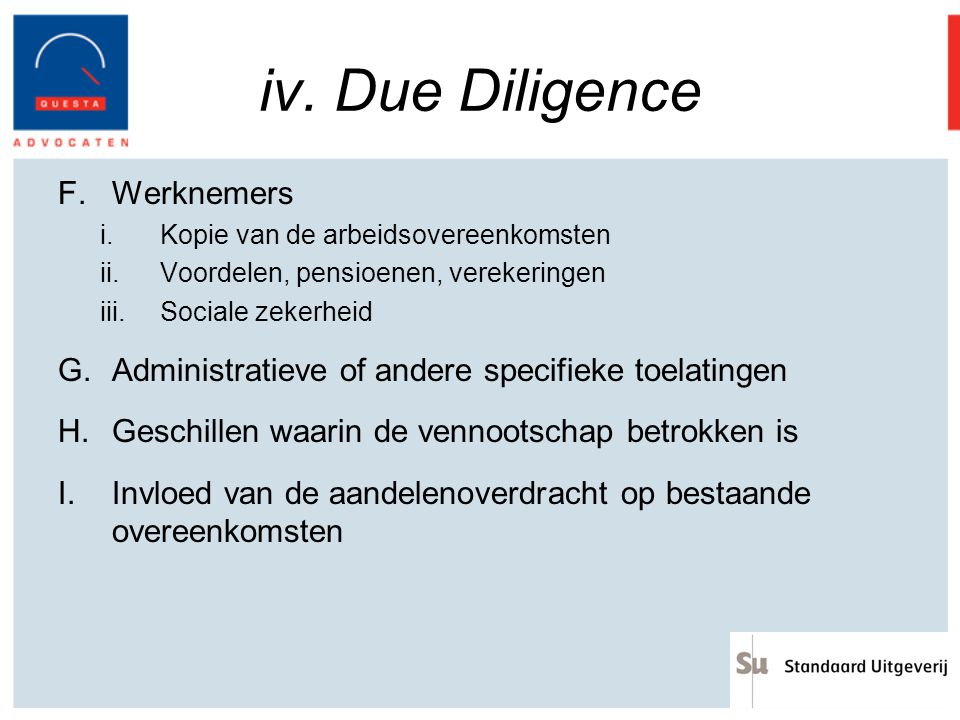 iv. Due Diligence Werknemers