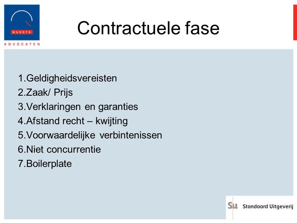 Contractuele fase Geldigheidsvereisten Zaak/ Prijs