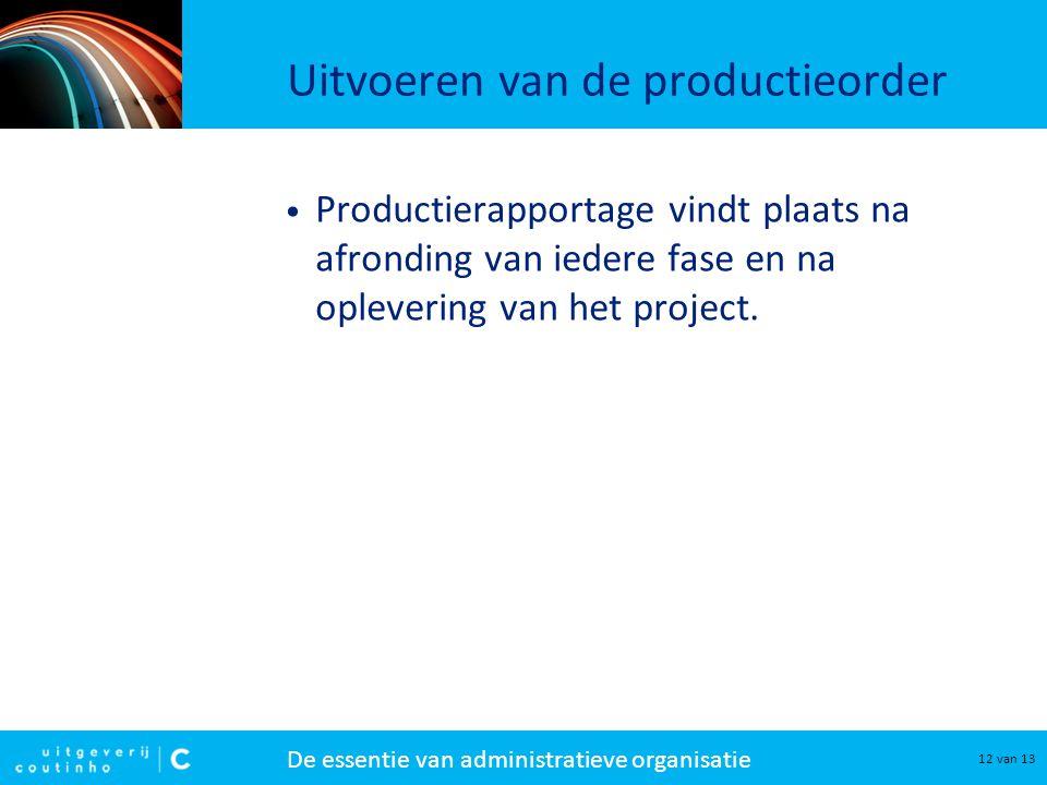 Uitvoeren van de productieorder