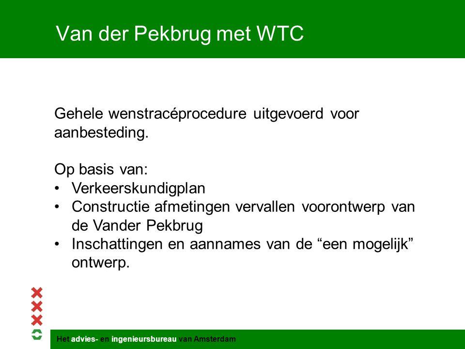 Titel presentatie Van der Pekbrug met WTC. Gehele wenstracéprocedure uitgevoerd voor aanbesteding.