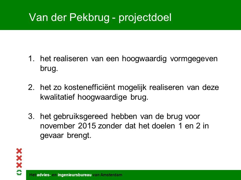 Van der Pekbrug - projectdoel