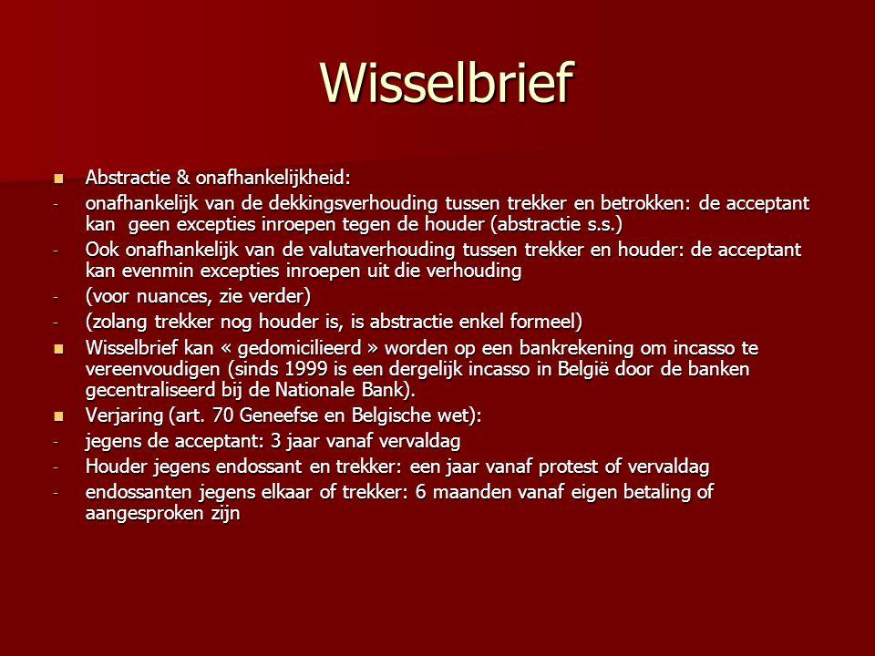 Wisselbrief Abstractie & onafhankelijkheid: