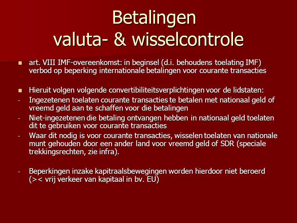 Betalingen valuta- & wisselcontrole