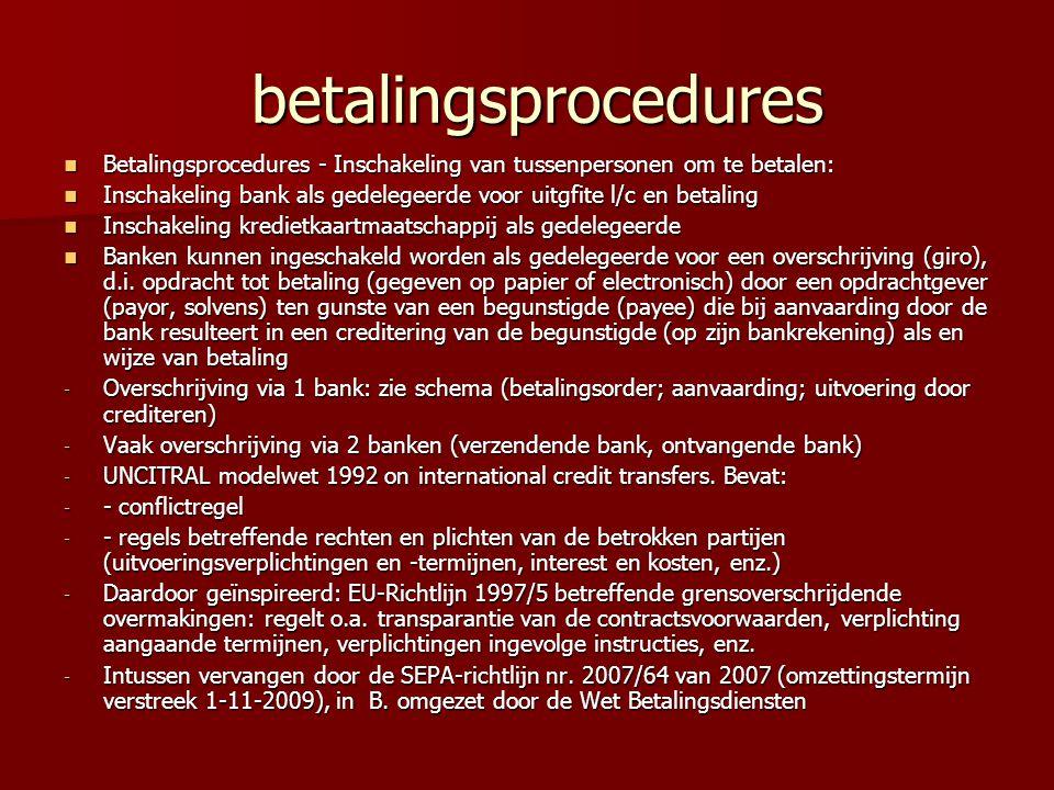 betalingsprocedures Betalingsprocedures - Inschakeling van tussenpersonen om te betalen: