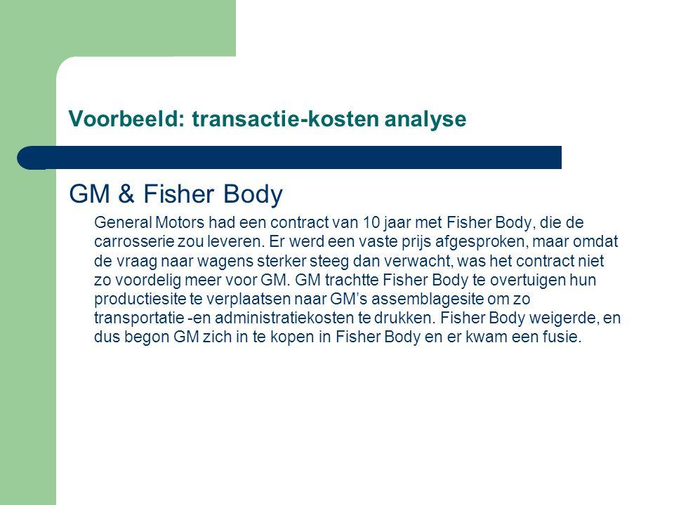 Voorbeeld: transactie-kosten analyse