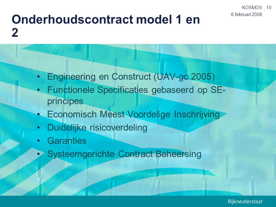 Onderhoudscontract model 1 en 2