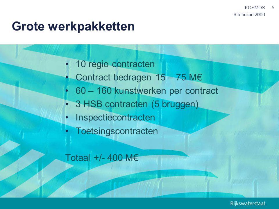 Grote werkpakketten 10 regio contracten Contract bedragen 15 – 75 M€
