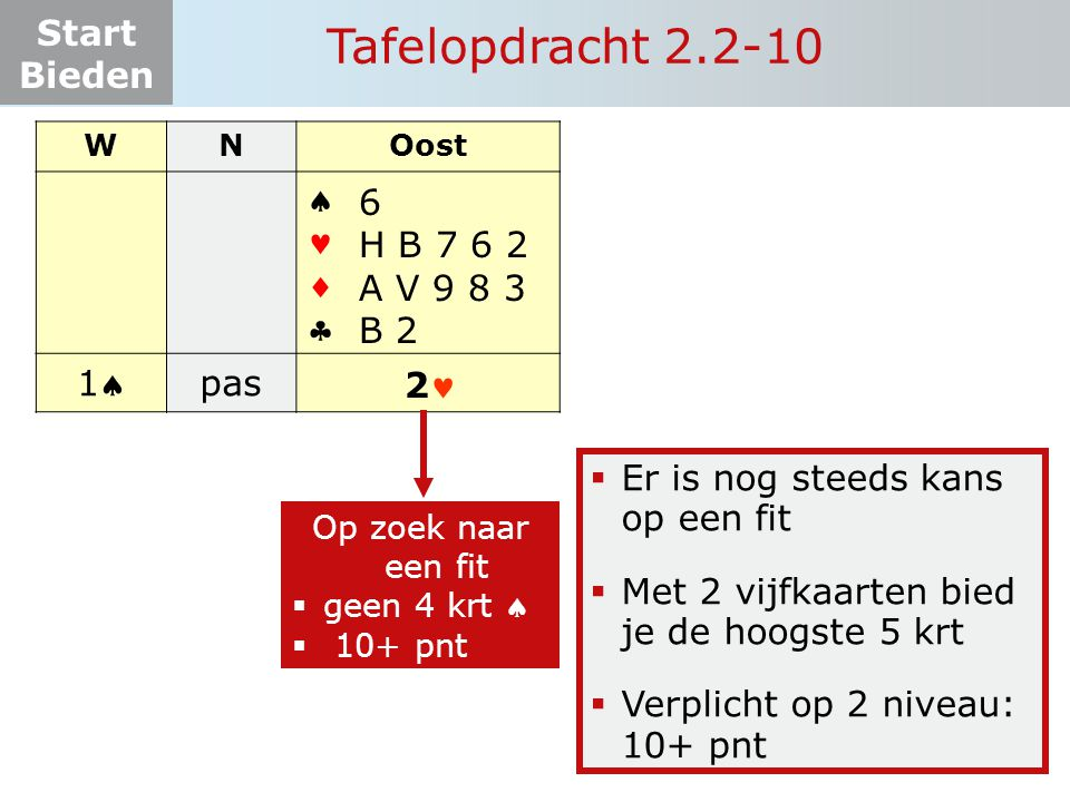 Tafelopdracht 2.2-10     1 pas 6 H B 7 6 2 A V 9 8 3 B 2 2