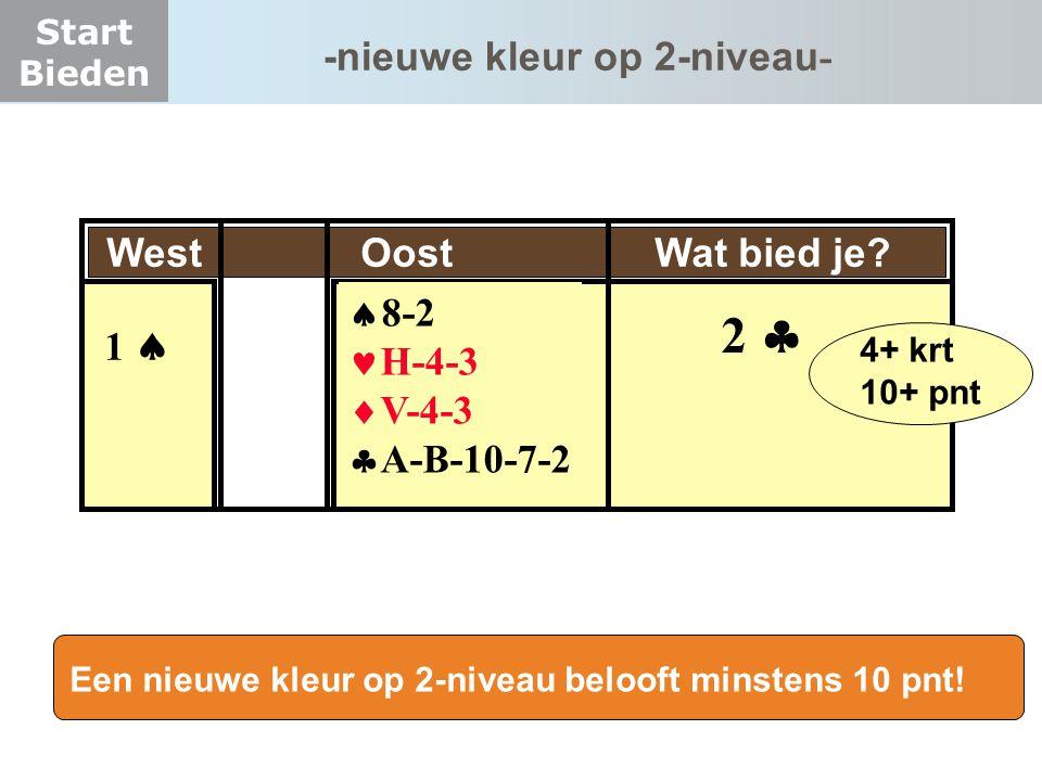 2  -nieuwe kleur op 2-niveau- West Oost Wat bied je 8-2 1  H-4-3