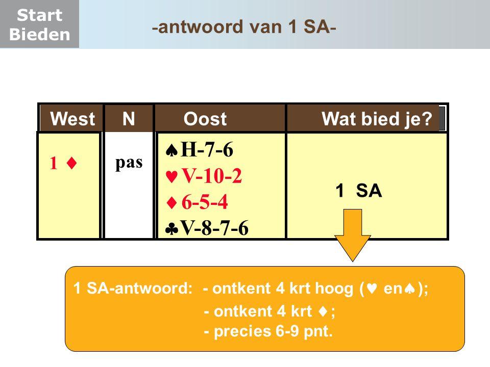 H-7-6 V-10-2 6-5-4 V-8-7-6 -antwoord van 1 SA-