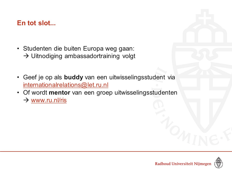 En tot slot... Studenten die buiten Europa weg gaan: