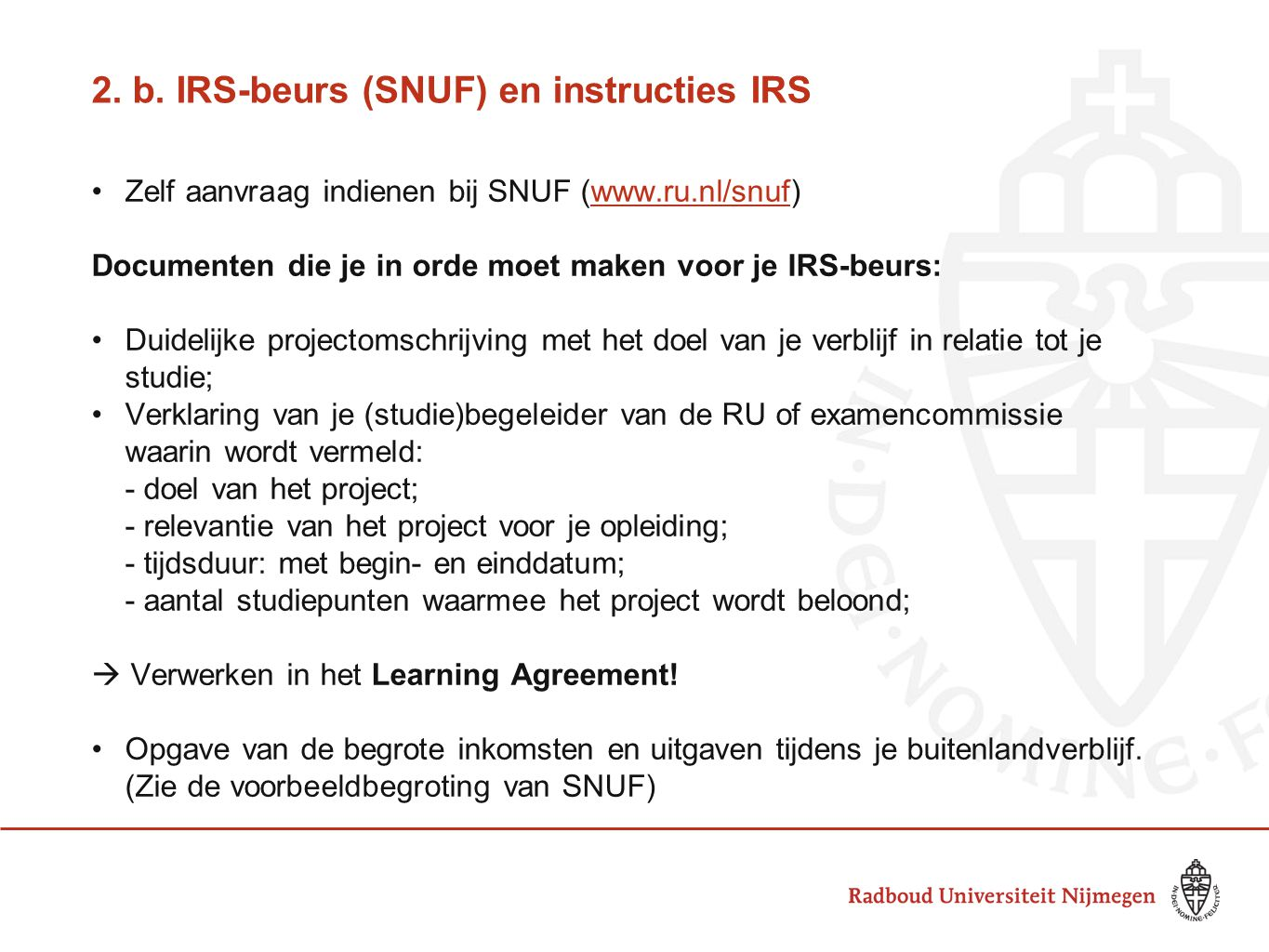 2. b. IRS-beurs (SNUF) en instructies IRS